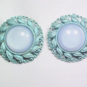 Large Old Blue Plastic Earrings