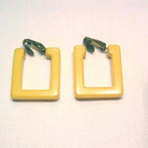 Square Yellow Bakelite Clip Earrings