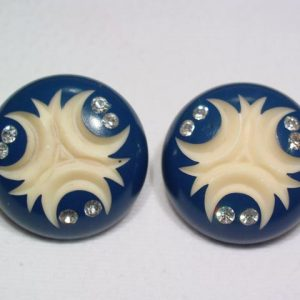 Large Round Navy and Ivory Colored Earrings
