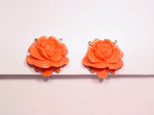 Coral Colored Plastic Rose Earrings