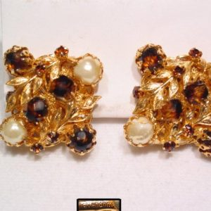 Brown and Imitation Pearl Vendome Earrings