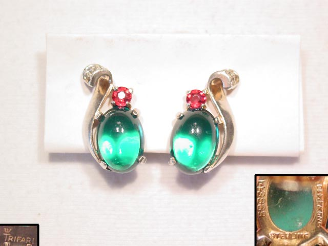 Sterling Alfred Philippe Trifari Emerald Green Earrings
