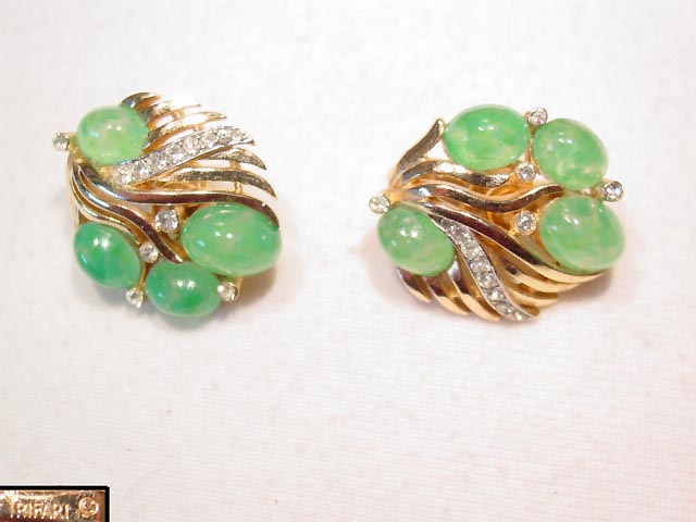 Speckled Green Trifari Earrings