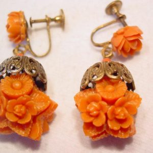 Plastic Coral Roses Earrings