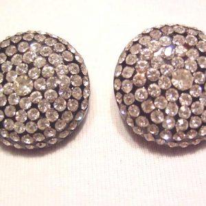 Large Black Plastic and Rhinestone Earrings