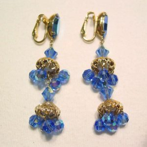 Blue Aurora Borealis Chandelier Earrings