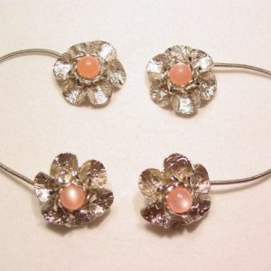 Silvertone and Pink Floral Wrap-Around Earrings
