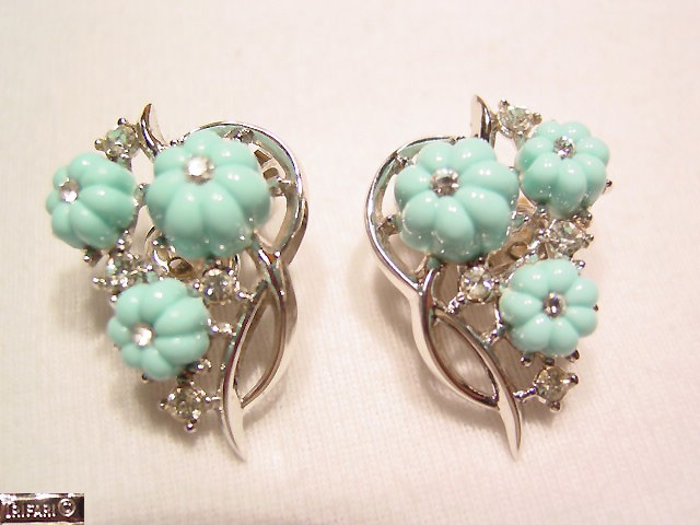 Baby Blue Silvertone Trifari Earrings