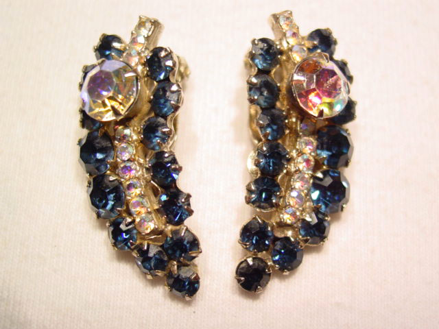 Beautiful Navy Blue Leaf Earrings