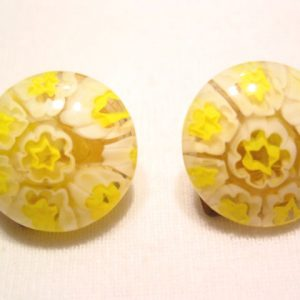 Old Italian Yellow and White Glass Earrings