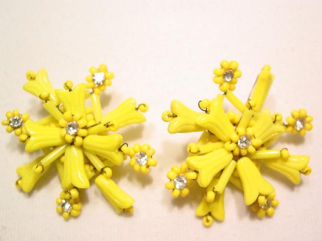Old Opaque Yellow Snowflake Earrings