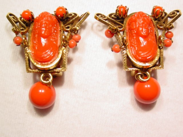 Beautiful Coral Colored Plastic Cameo Earrings