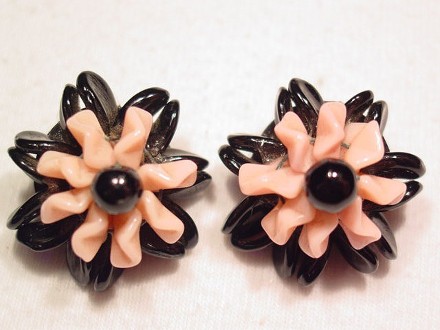 Western Germany Black and Pink Frilly Glass Earrings