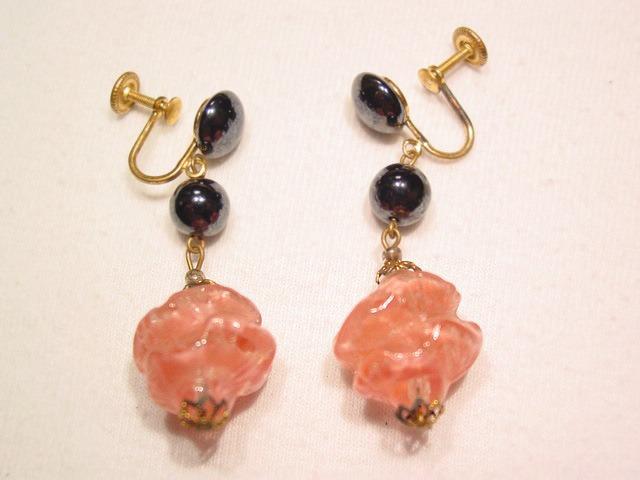 Western Germany Glass Rose Earrings