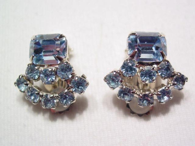 Bright Light Blue Rhinestone Earrings