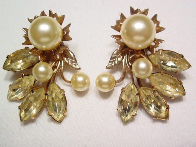 Yellow and Pearl Earrings