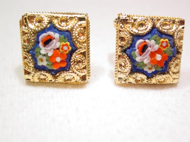 Dark Blue and Floral Mosaic Earrings