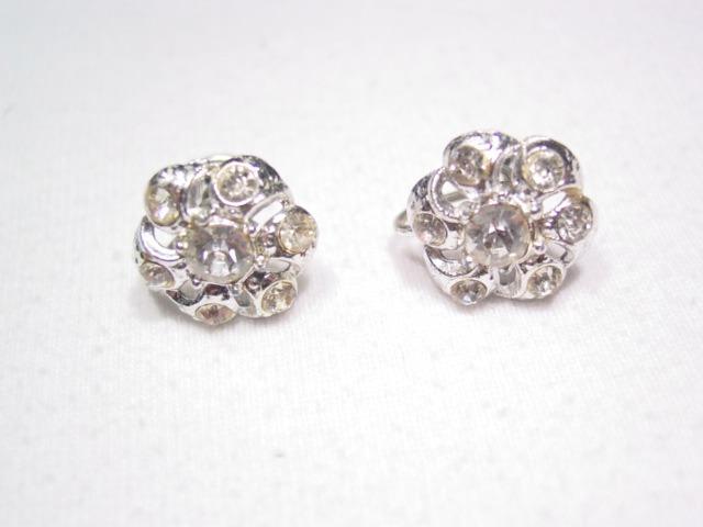 Silvertone Nemo Rhinestone Earrings