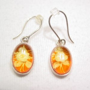 Real Amber Flower Sterling Earrings