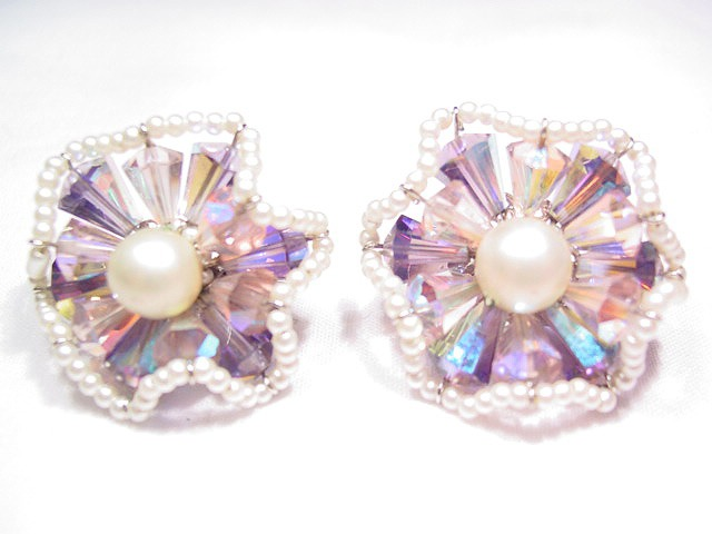 Vendome Lavender and Pearl Earrings