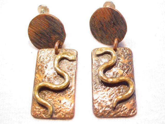 Copper and Brass Snake Earrings