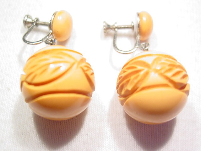 Butterscotch Carved Bakelite Ball Earrings