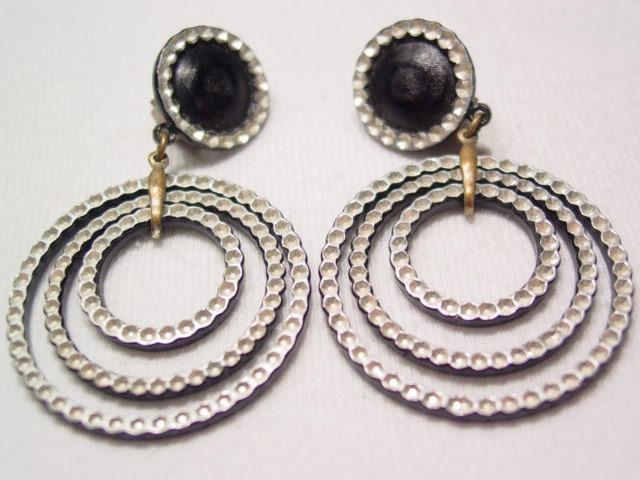 West German Cut Steel Look Aluminum Earrings