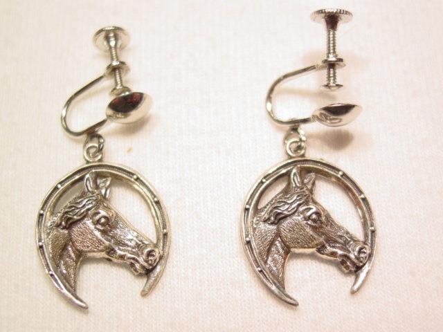 Horsehead in Horseshoe Sterling Earrings