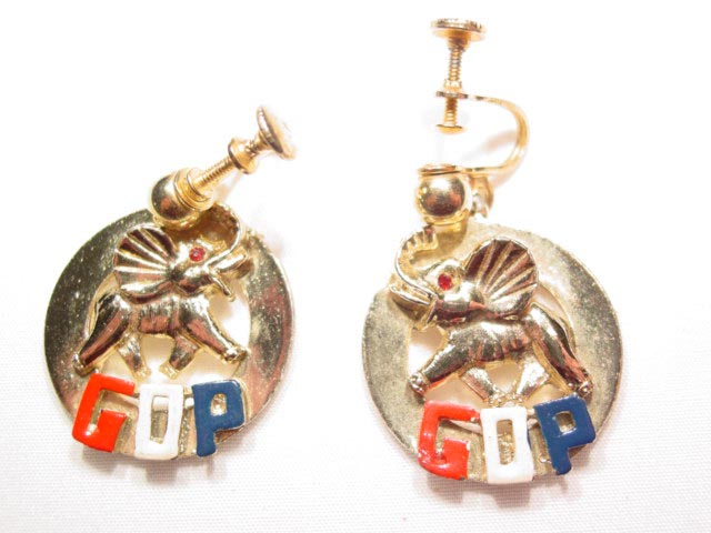 Round Elephant GOP Earrings