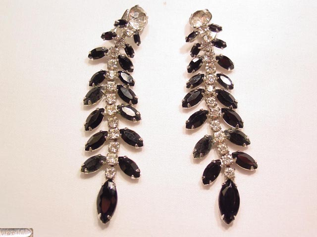 Wiesner Black and Clear Rhinestone Earrings