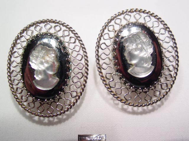 Whiting & Davis Filigree Cameo Earrings