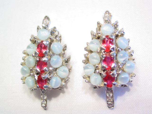 Beautiful Moonstone and Cranberry Leaf Earrings