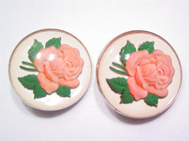 Reversed Glass Pink Rose Earrings