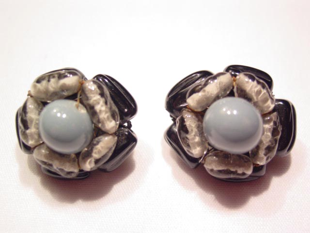 Gray and Black Glass Japan Earrings