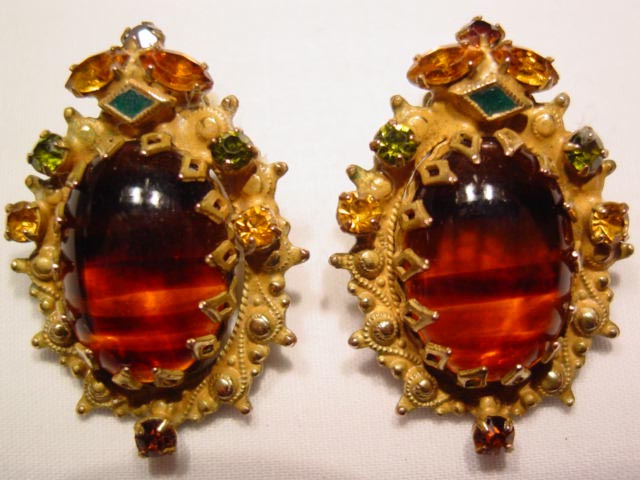 Tiger Striped and Topaz Etruscan Weiss Earrings