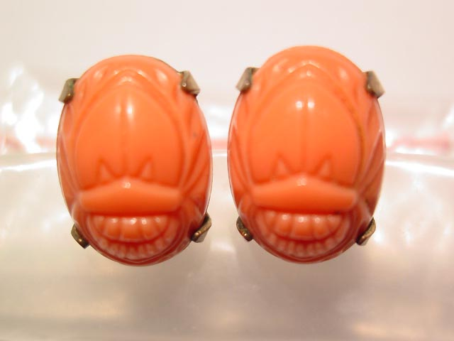 Coral-Colored Plastic Scarab Earrings