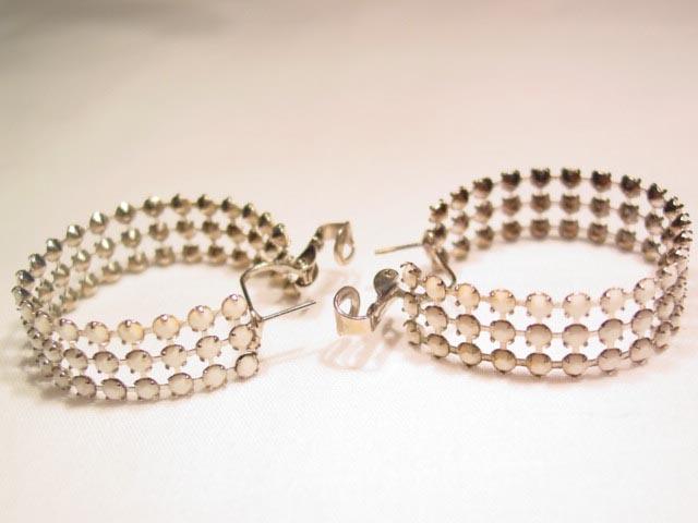 White Milk Glass Rhinestone Loop Earrings