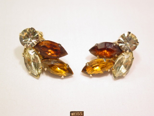 Topaz Colored and Yellow Weiss Earrings
