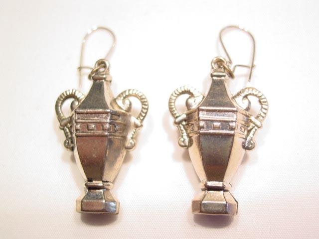 Silvertone Urn Earrings