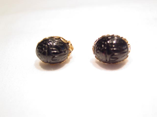 Tiny Black Glass Scarab Pierced Earrings