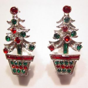 Red and Green Christmas Tree in Pot Earrings