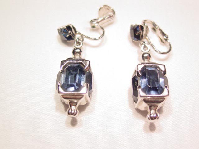 Square Navy and Silvertone Earrings