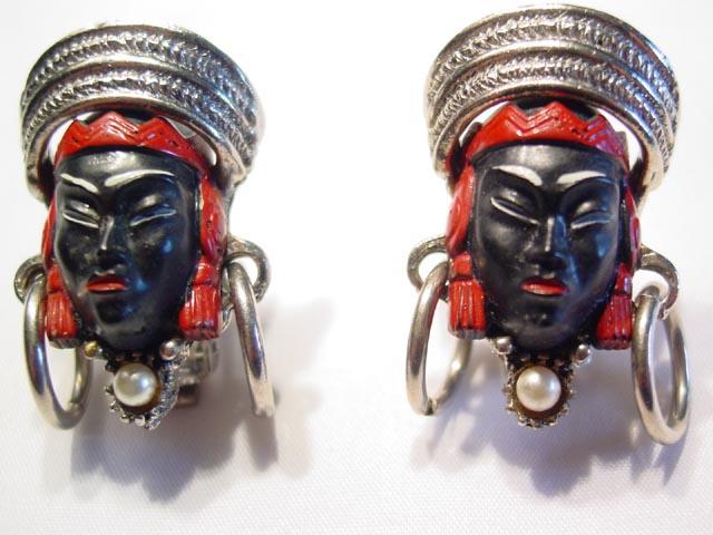 Blackamoor Figural Plastic Earrings