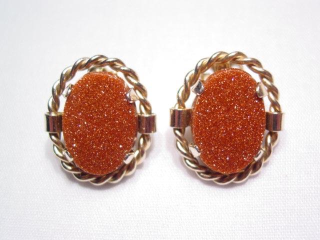 Goldstone Oval Earrings