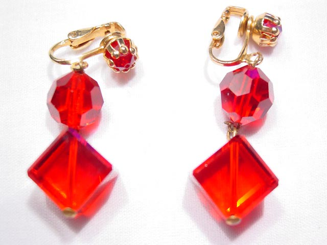 Red Square Aurora Borealis Earrings