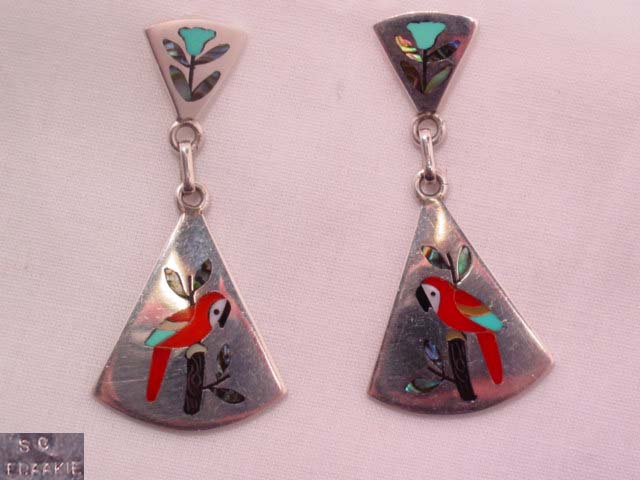 Inlaid Parrot and Sterling Pierced Earrings
