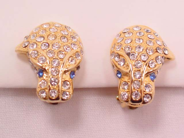 Rhinestone Encrusted Leopard Head Earrings