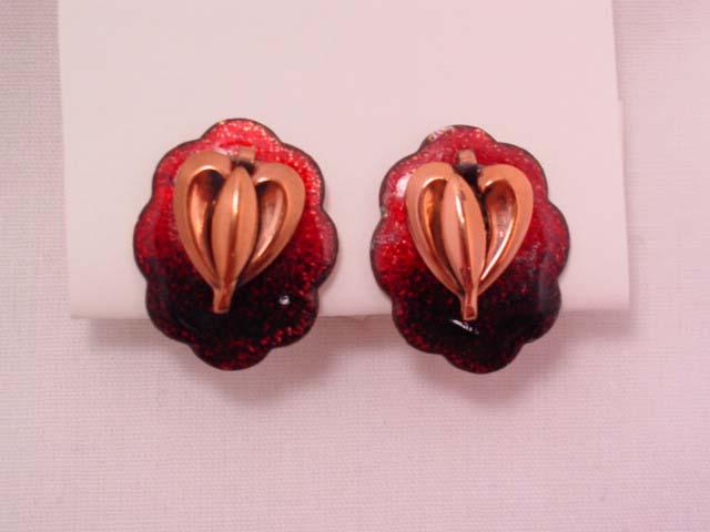 Red Enamel and Copper Leaf Earrings