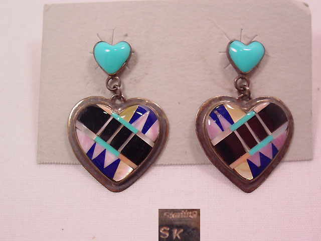 Inlayed Sterling Dangling Heart Earrings