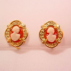 Orange and White Plastic Cameo Earrings with Fancy Goldtone